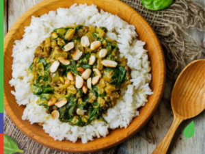African Peanut and Leafy Green Stew with Toasted Sunflower Seeds