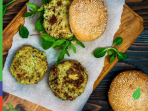 Sprouted Mung Bean Burgers with Creamy Mint Dressing