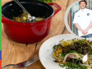 Simon Toohey's Baked rice, eggplant and leek hotpot with, olives, dill and parsley